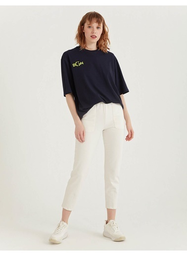 BGN Lacivert - Baskılı Pamuklu T-Shirt Lacivert